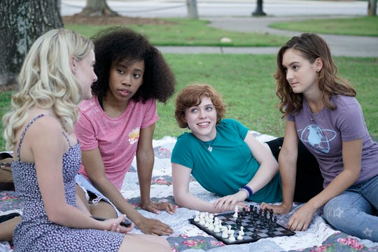 """In """"Nancy Drew and the Hidden Staircase,"""" Nancy (Sophia Lillis, second from right) is aided in her youthful sleuthing by her pals, left to right, Helen (Laura Slade Wiggins), George (Zoë Renee) and Bess (Mackenzie Graham)."""