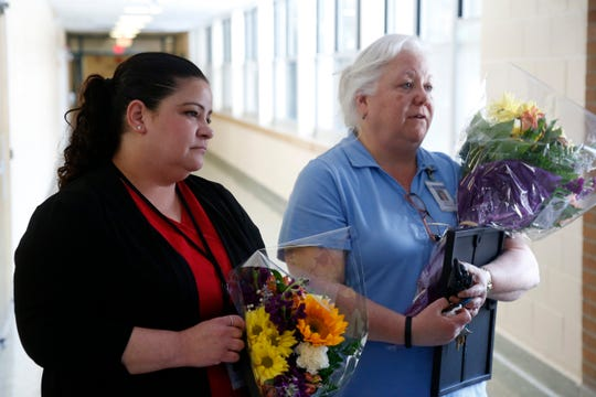 School nurses, from left, Dawn Dragonetti and Mary Merenda following a staff meeting at Van Wyck Junior High School in Wappingers Falls on March 4, 2019. The pair were recognized for successfully resuscitating a parent who fainted and went into cardiac arrest.