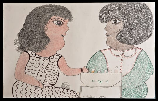 Inez Nathaniel Walker (American, 1907-1990) Untitled (Two Women at Table), 1974. Pencil, crayon and felt-tip pen on paper. American Folk Art Museum, gift of Pat O'Brien Parsons.