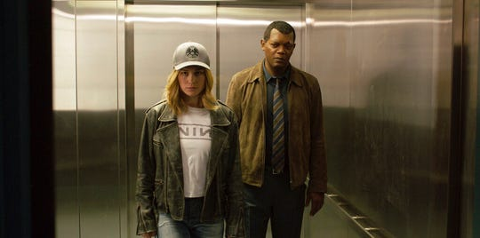 """Brie Larson, left, and Samuel L. Jackson star in  """"Captain Marvel."""" The movie opens Thursday at Regal West Manchester Stadium 13, Frank Theatres Queensgate Stadium 13 and R/C Hanover Movies."""