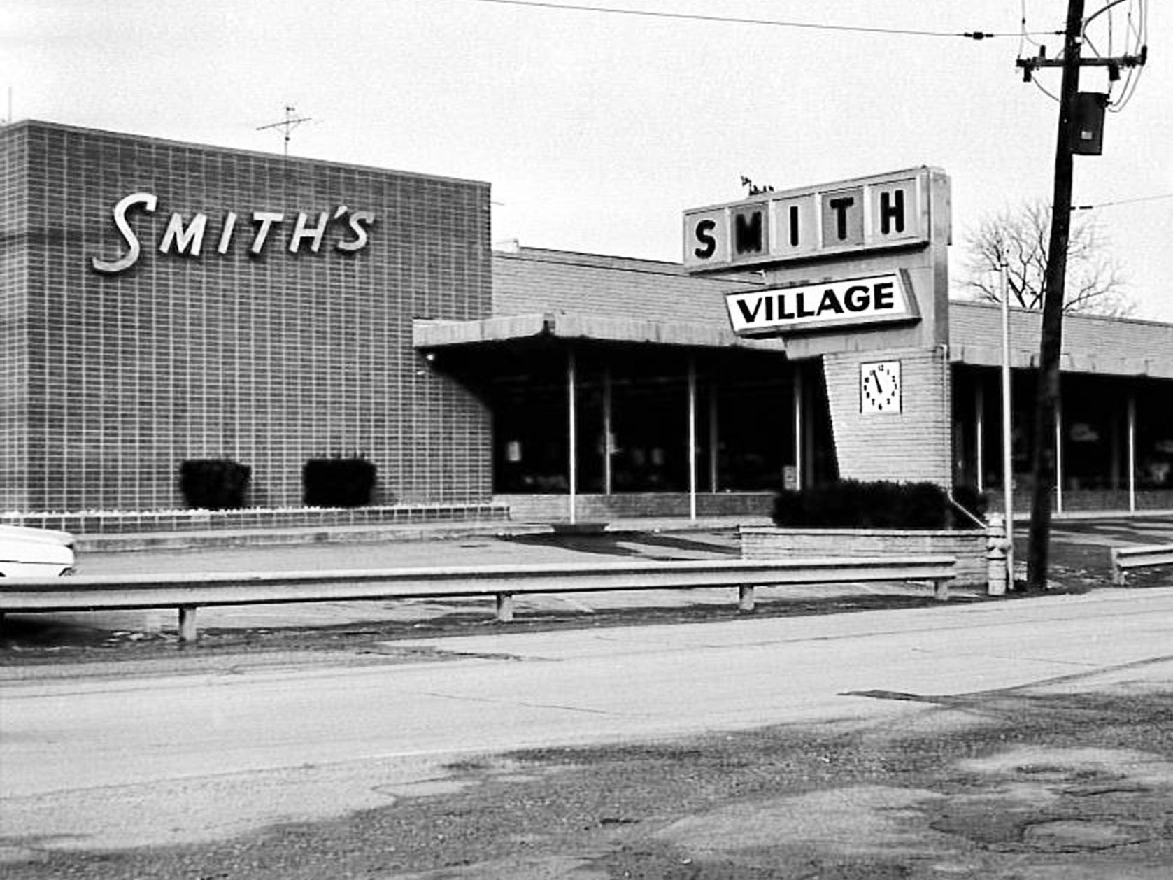 This is Smith Village, in Jacobus, as it looked in the early 1960s. A major change occurred in 1977 when the family decided to change the storeÕs format to all furniture and appliances. The housewares, toy, clothing, jewelry, and sporting goods departments were closed and the furniture area was expanded.