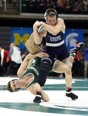 Michigan State's Jake Tucker vs Penn State's Jason Nolf during the 2018 Big Ten championships.
