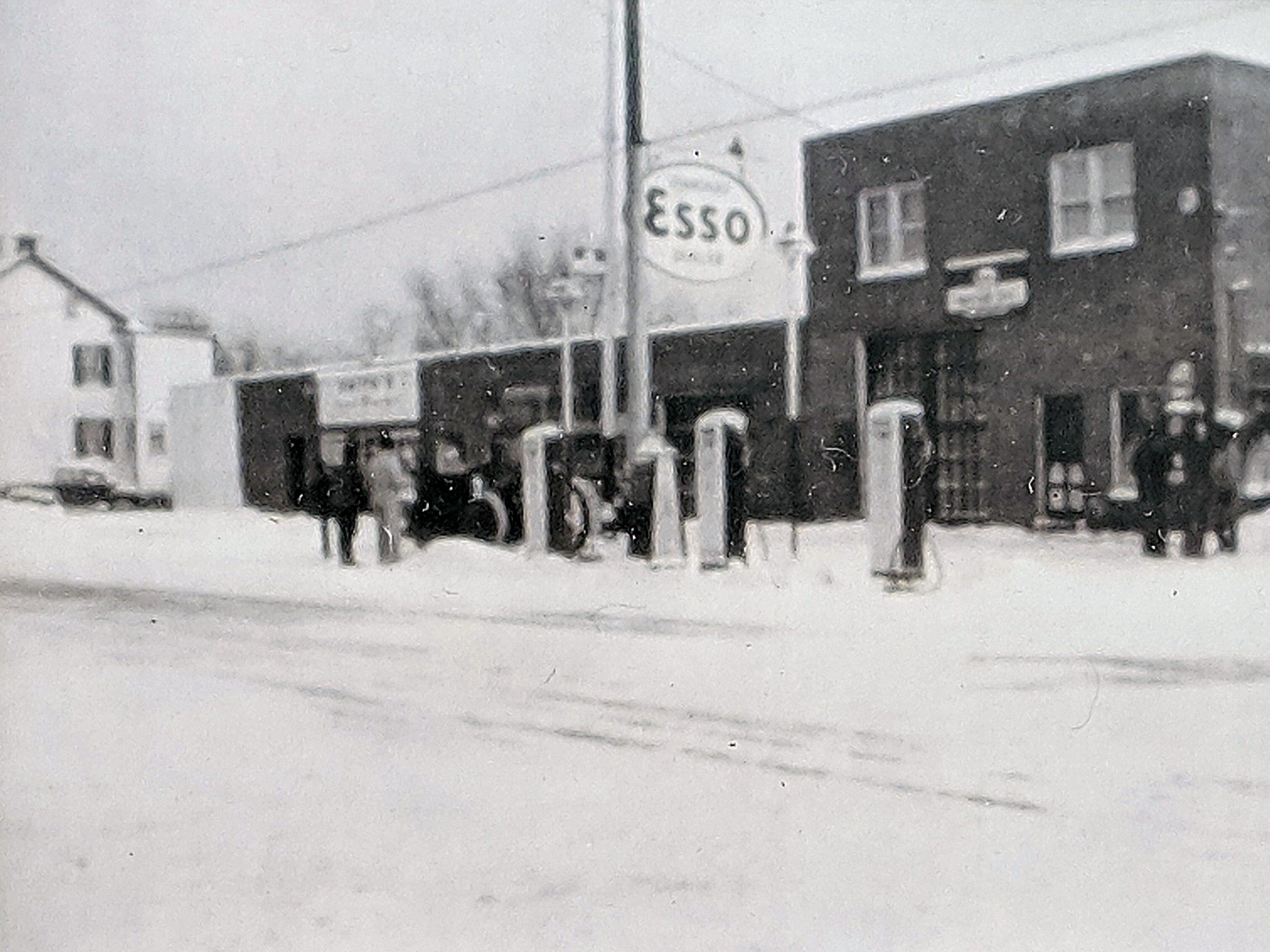 The Esso gas station in 1945 stood on the footprint of the current Rutter's across the street from the current Smith Village in Jacobus.