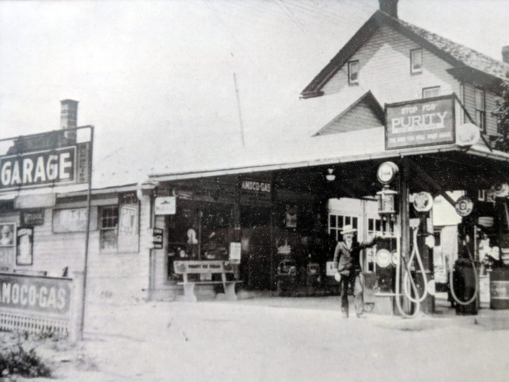 Bruce V. Smith and his wife, Ethel R. Glatfelter Smith , founded the business in 1932 when they bought this gas station and general store in Jacobus from Bruce's grandfather, George Smith. This is how the building looked when it was first purchased. Over the next 87 years, Smith's businesses evolved into Smith Village on the same location.