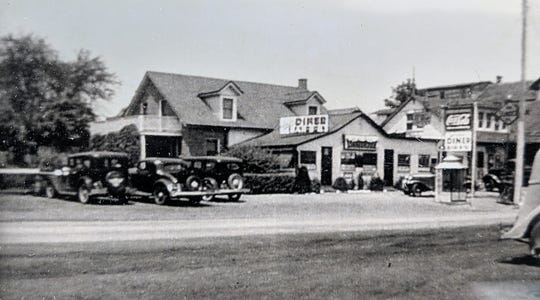 This is Smith's gas station and diner and truck stop as it looked in 1938.