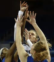 Nevada's Delaney Gosse shoots against Air Force during Monday's game at Lawlor Events Center on March 4, 2019.