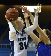 Nevada Kristin Dearth shoots against Air Force's Haley Jones during Monday's game at Lawlor Event Center.