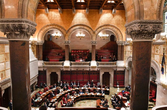 New York Senators debate new legislation reforms to protect New Yorkers from gun violence in the Senate Chamber at the state Capitol on Tuesday, Jan. 29, 2019, in Albany, N.Y.