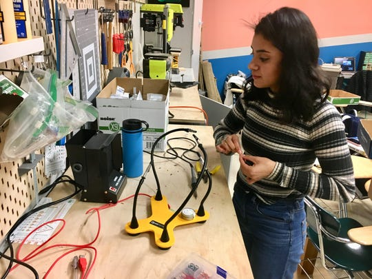 Ximena Nava Diaz works in teacher Katrina Hull's classroom on Feb. 28, 2019. Diaz is part of a team of McKay High School students who are designing an adaptive cup to help adults with dysphagia as part of the Lemelson-MIT InvenTeams Grant for Invention Projects.