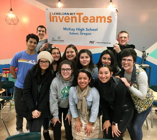 The team of McKay High School students designing an adaptive cup to help adults with dysphagia as part of the Lemelson-MIT InvenTeams Grant for Invention Projects poses for a picture on Feb. 28, 2019.