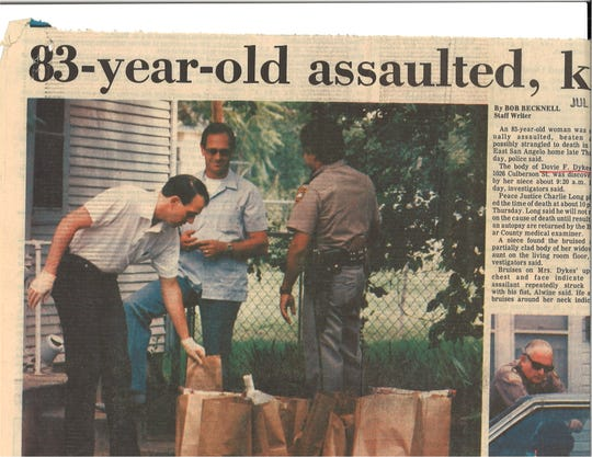 Police detectives Barry Alwine (left), Sgt. Joe Fields and Patrolman Steve Torres prepare evidence gathered in the late Thursday, July 11, 1986 death of Dovie Dykes. After 32 years, an arrest was made on Monday, May 4, 2019 in connection to the case.