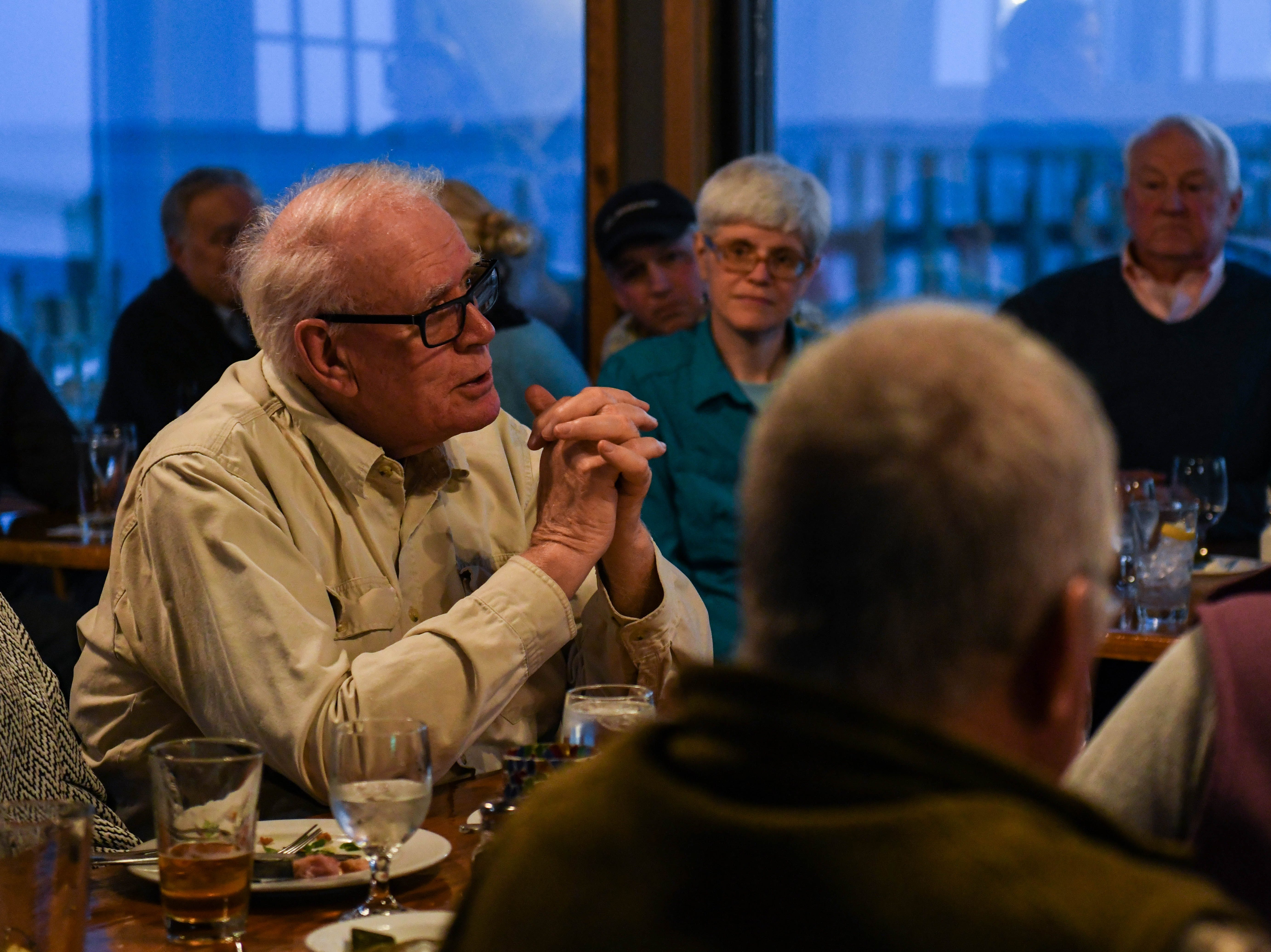 George Rieger, local resident, speaks at a community discussion in Wachapreague, Virginia on flooding and sea level rise led by the Nature Conservancy on Monday, March 4, 2019.