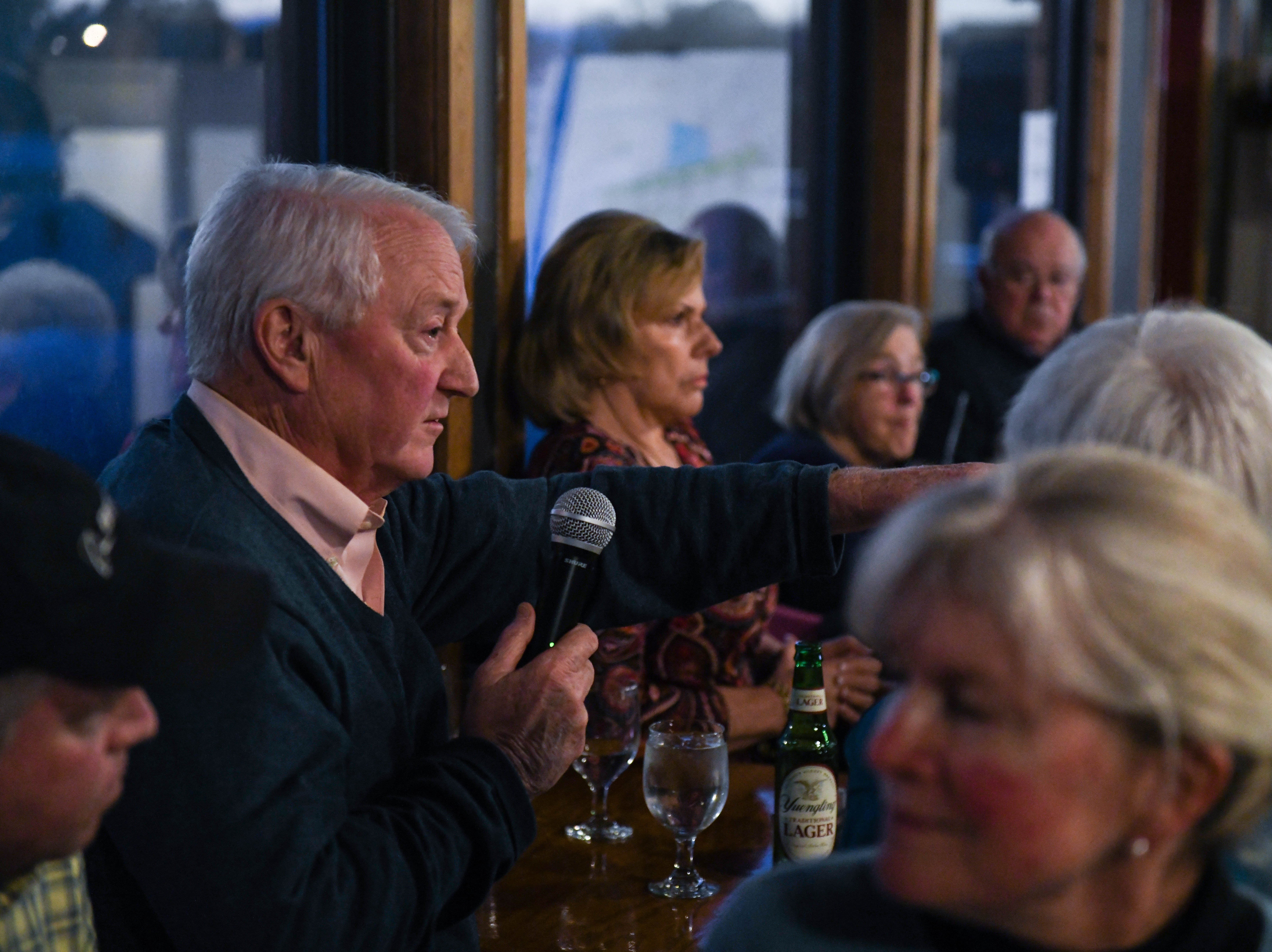 Local resident, Bill Nickel, discusses flooding and sea level rise at a community meeting in Wachapreague, Virginia led by the Nature Conservancy on Monday, March 4, 2019.
