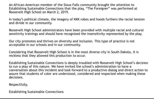 """A local nonprofit raises concerns Monday about a recent performance of """"The Foreigner"""" at Roosevelt High School, which feature students wearing KKK attire."""
