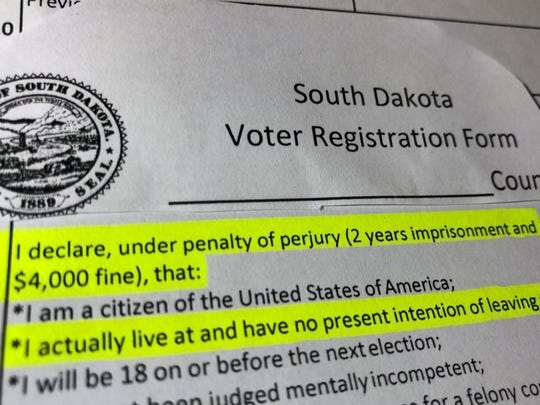 People Who Register To Vote In South Dakota Must Sign A Form Under Threat Of Perjury