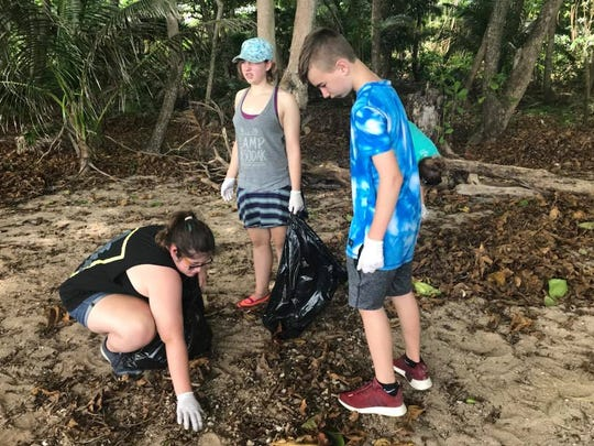 Harrisburg South Middle School students help clean the beaches of Utila, Honduras in summer 2018 as part of a  plastic pollution prevention project.