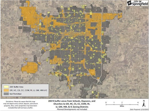 The dark yellow parts of this map of Springfield show where medical marijuana dispensaries could be located if the city adopted a 200-foot buffer around churches, schools and daycares. Light yellow parts of the map show the buffers.