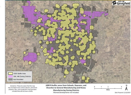 Marijuana extraction facilities that use powerful gases and chemicals to get THC-rich oil out of the cannabis plant would be located in the purple parts of this map of Springfield under proposed zoning rules. The yellow dots are buffer zones around churches, schools and daycares.