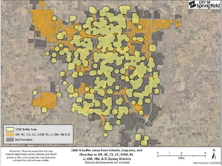 The dark yellow parts of this map of Springfield show where medical marijuana dispensaries could be located with a 1,000-foot buffer from churches, schools and daycares. The light yellow dots show the 1,000-foot buffers.