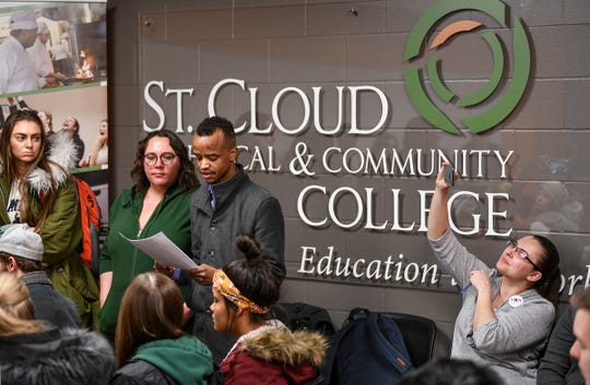 Students ask questions during a visit by Gov. Tim Walz and Lt. Gov. Peggy Flanagan Tuesday, March 5, at St. Cloud Technical and Community College.