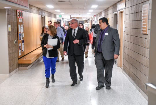 Gov. Tim Walz and Lt. Gov. Peggy Flanagan are given a tour Tuesday, March 5, during a stop at St. Cloud Technical and Community College.