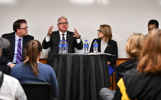 Gov. Tim Walz and Lt. Gov. Peggy Flanagan answer questions from students and staff Tuesday, March 5, during an appearance at St. Cloud Technical and Community College.