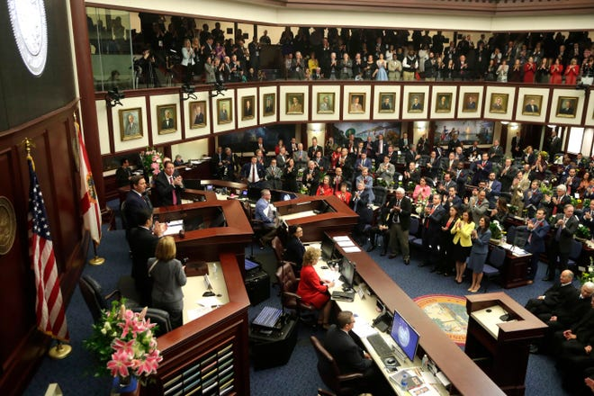 Gov. Ron DeSantis gives the State of the State Address to the Florida House of Representatives and the Florida Senate Tuesday, March, 5, 2019.