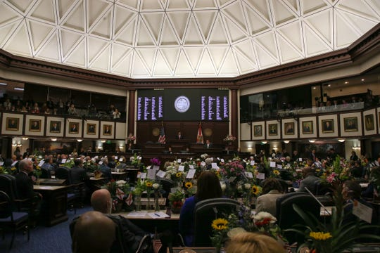 House Speaker Jose Oliva speaks in front of the House of Representatives during the opening day of session for the Florida Legislature.