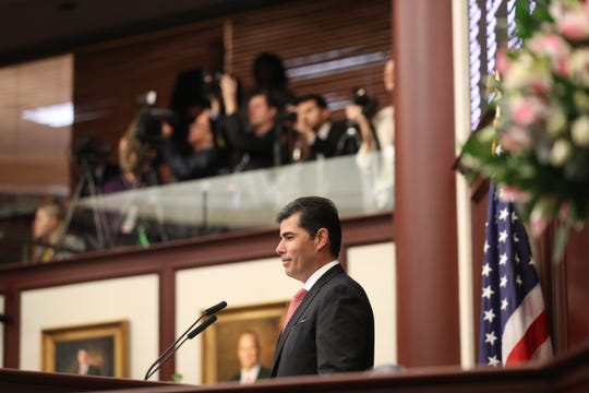 Speaker of the House Jose Oliva addresses the House of Representatives during the opening day of session for the Florida Legislature Tuesday, March 5, 2019.