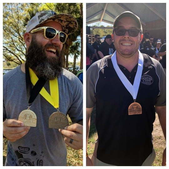 Deep Brewing owner Ryan LaPete, left, was all smiles after Deep won a gold and a silver medal at last weekend's Best Florida Beer competition in Tampa.  Oyster City head brewer Clayton Mathis, right, earned a bronze for the Red Right Return Amber Ale in the same Amber/Red Ale category as Deep.
