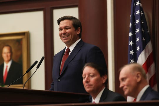 Gov. Ron DeSantis gives his State of the State speech during the opening day of session for the Florida Legislature Tuesday, March 5, 2019.