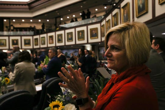 Rep. Loranne Ausley claps during the opening day of session for the Florida Legislature Tuesday, March 5, 2019.