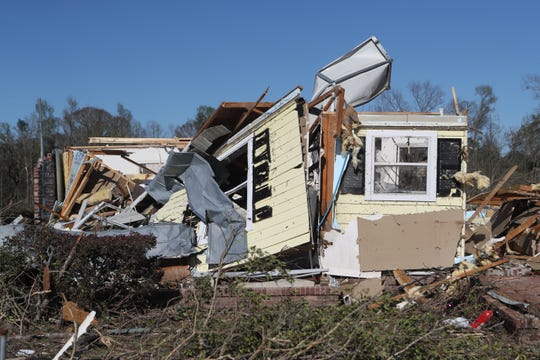 A home on Steeds Run was destroyed after a tornado ripped through the Baum Community in east Tallahassee Sunday, March 3, 2019.