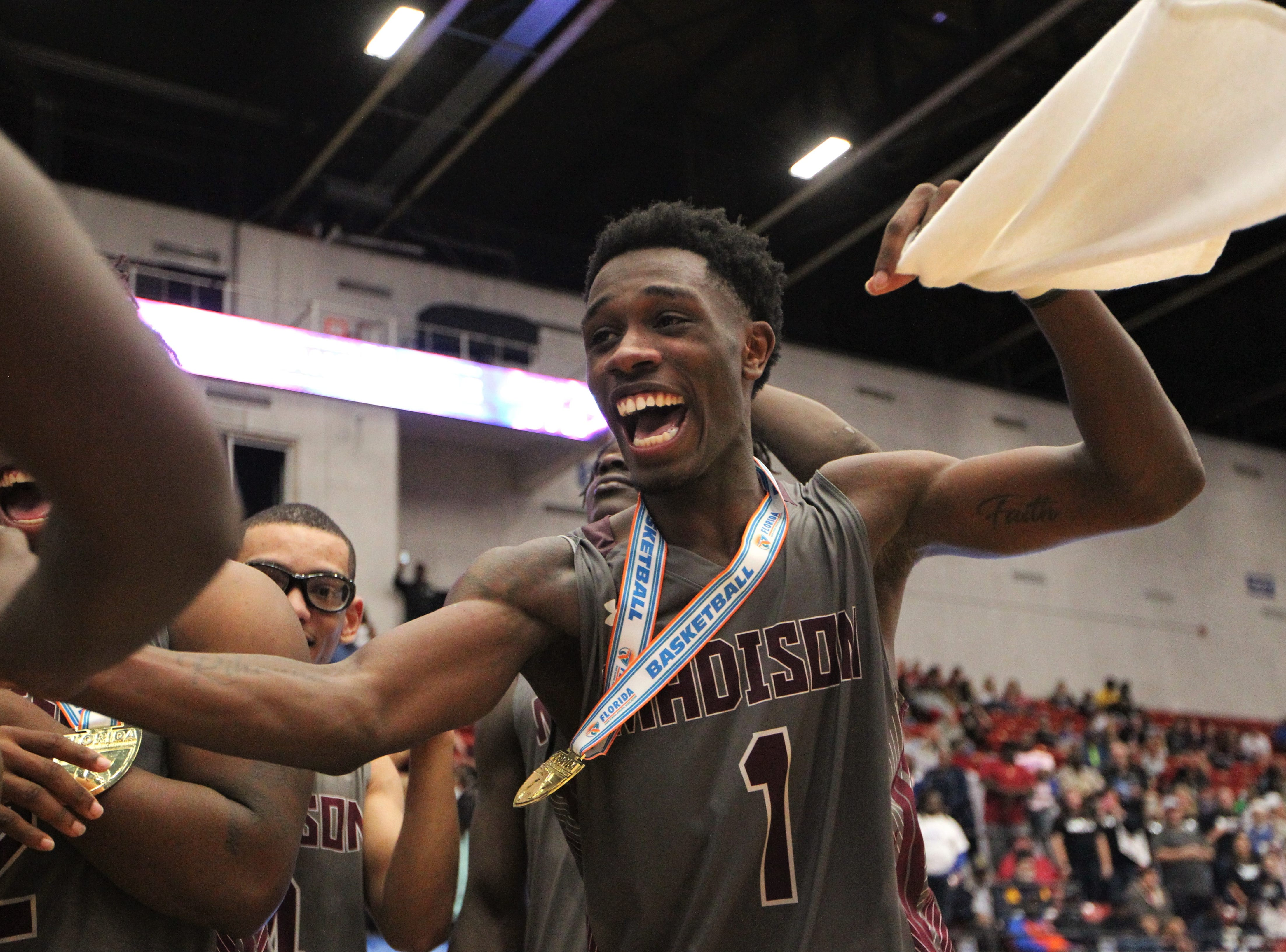 Madison County senior Vincenta Mitchell and his basketball team captured a Class 1A state championship with a 62-60 victory over Wildwood at the RP Funding Center in Lakeland on Tuesday.