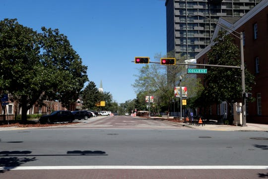 At the intersection of Adams Street and College Street, it can be seen that Adams Street has reopened after being under construction for nearly a year Tuesday, March 5, 2019.