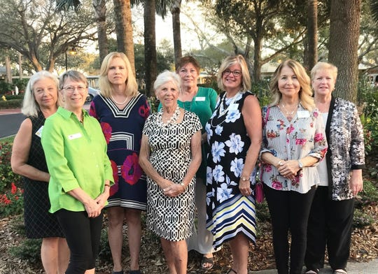 Sandhill Cove Kick-off Gala Committee members Susan Licari, left, Lynn Merritt, Jill Burton, Ginny Starkel, Nancy Hess, Lana Turner, Georgeann Sgrosso and Joan Giuliano at the Kick-off Gala for Garden Club of Stuart's Secret Gardens Tour.