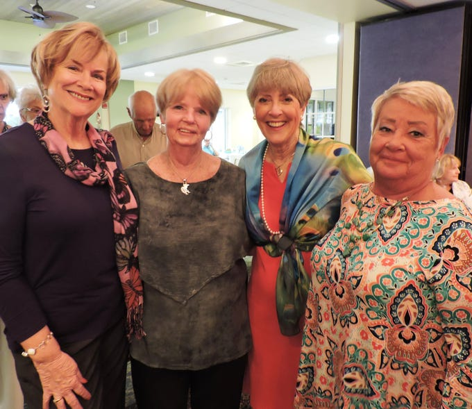 Cathleen Owen, left, Bath Tirc, Ellen Peitz and Carolyn Davi at the Kick-off Gala for Garden Club of Stuart's Secret Gardens Tour.