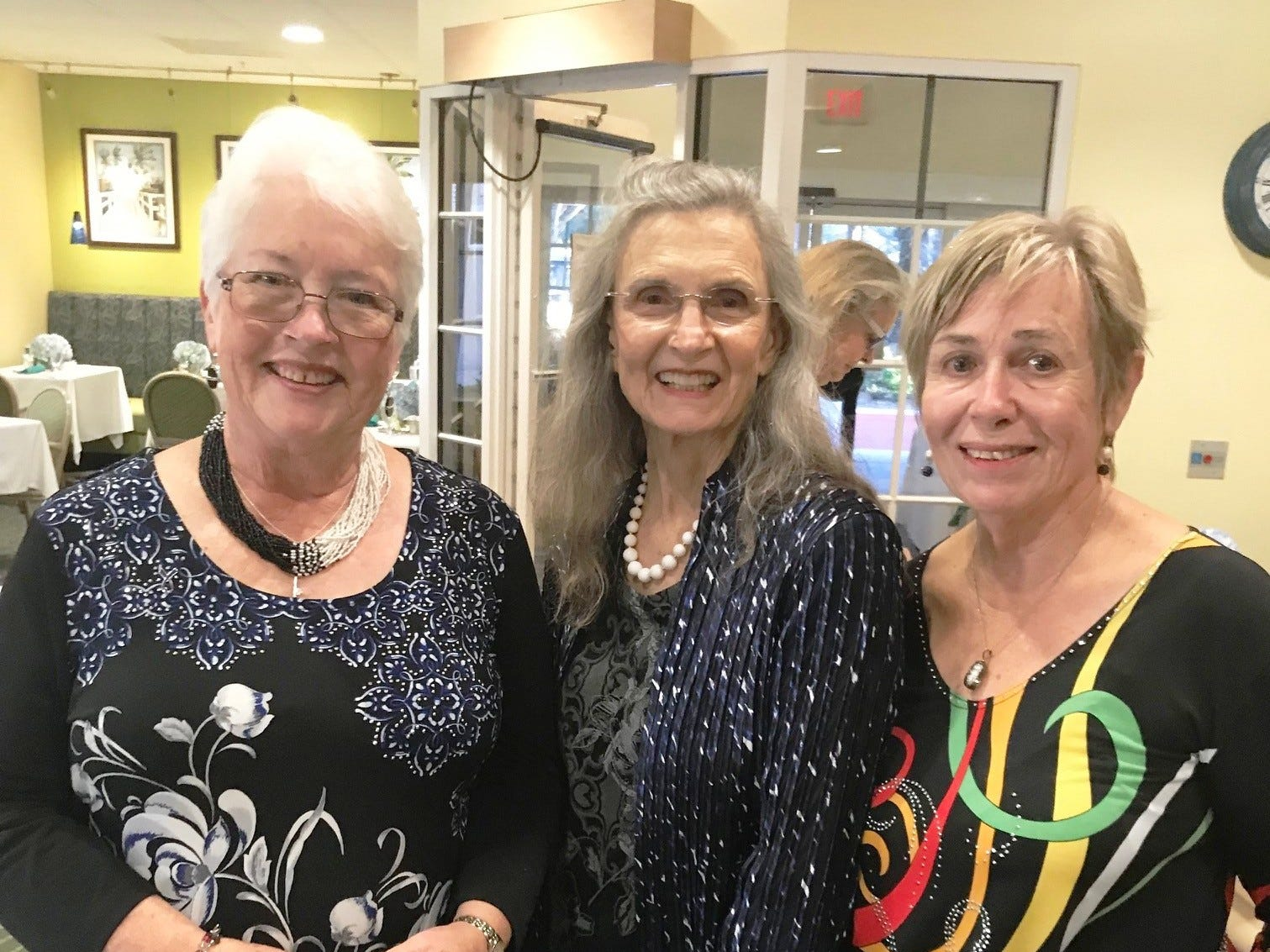 Carol Stone, left, Sunny Swearingen and Barbara Farley at the Kick-off Gala for Garden Club of Stuart's Secret Gardens Tour.