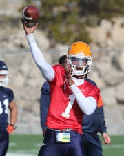 UTEP quarterback Kai Locksley participates in spring practice Tuesday, March 5, 2019, at Glory Road Field.