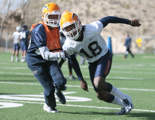 UTEP cornerback Robert Corner III rushes the quarterback during the team's first spring practice Tuesday, March 5, 2019.