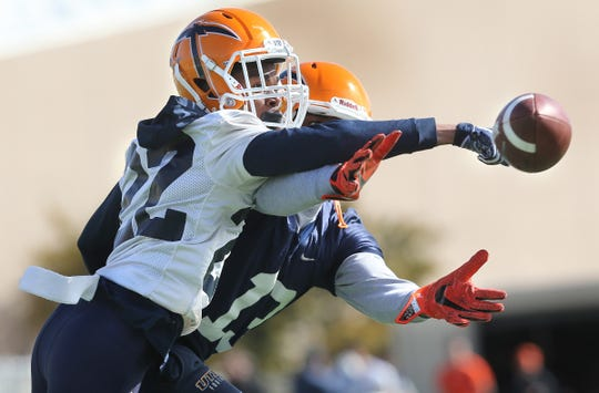 UTEP cornerback Josh Caldwell breaks up a pass intended for receiver Andrew Nwachukwu during the team's first spring practice at Glory Road Field.