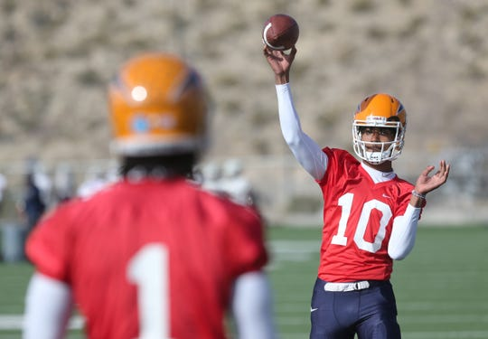 UTEP quarterback T.J. Goodwin warms up before the Miners' first spring practice Tuesday, March 5, 2019, at Glory Road Field.