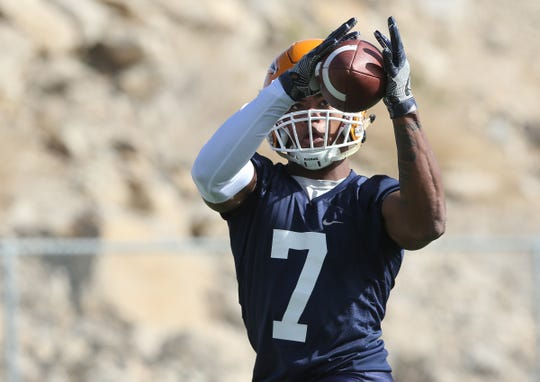 UTEP receiver Kavika Johnson runs a route during the team's first practice Tuesday.
