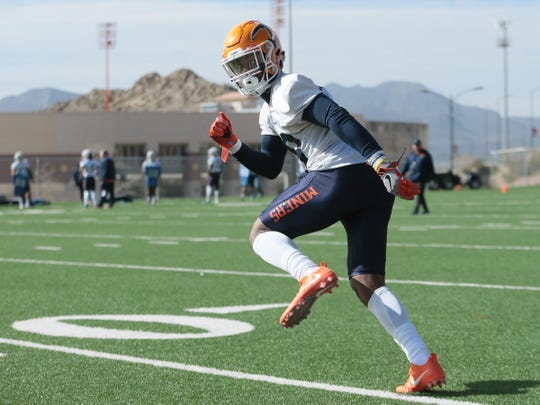 UTEP cornerback Robert Corner III runs a drill during the team's first spring practice Tuesday, March 5, 2019, at Glory Road Field.