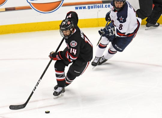 Patrick Newell of Thousand Oaks leads top-ranked St. Cloud State in goals (18), points (38) and plus-minus (plus-29) through 32 games.