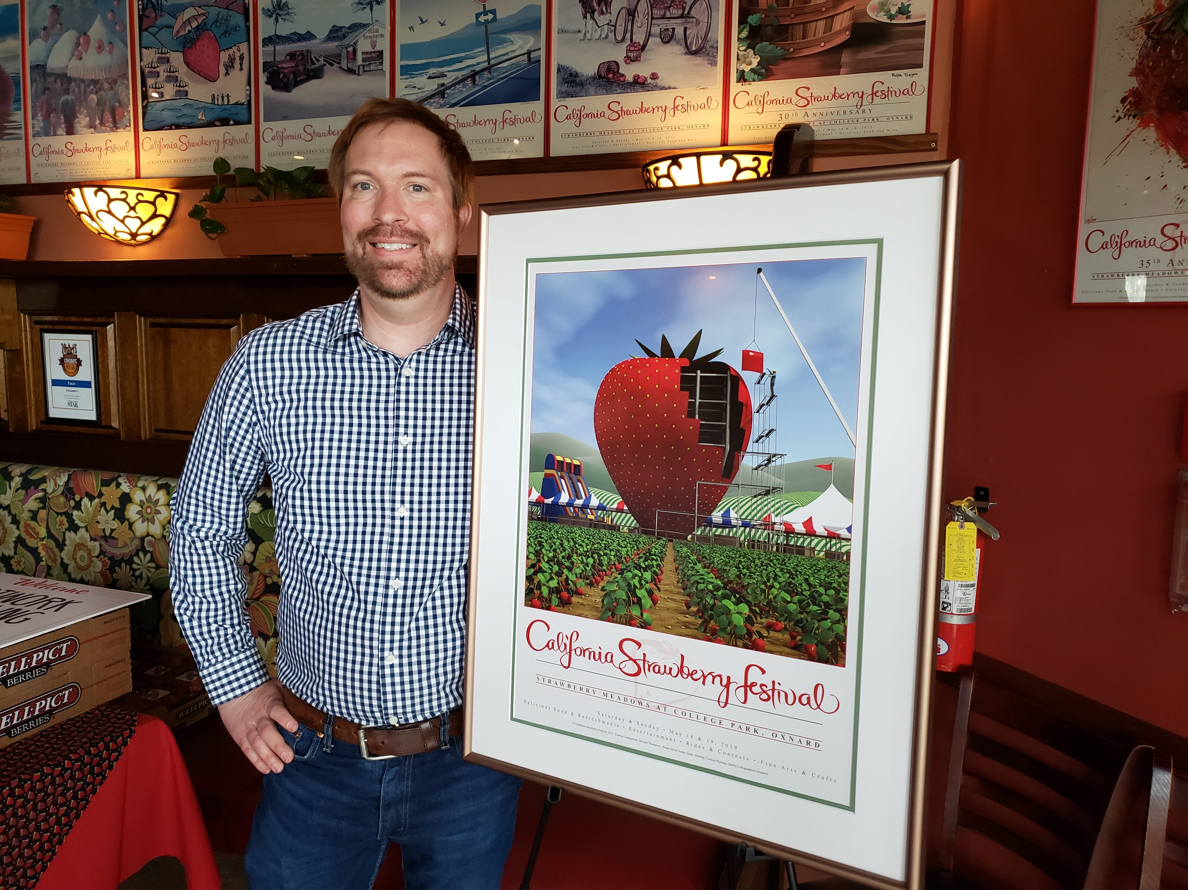 Aaron Trask, of Glendale, is the winner of the 36th Annual California Strawberry Festival poster competition. Trask's winning piece was unveiled Tuesday at Yolanda's Mexican Cafe in Oxnard.