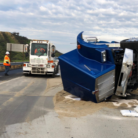 Dump truck full of sand overturns on Highway 118, slowing traffic in Simi
