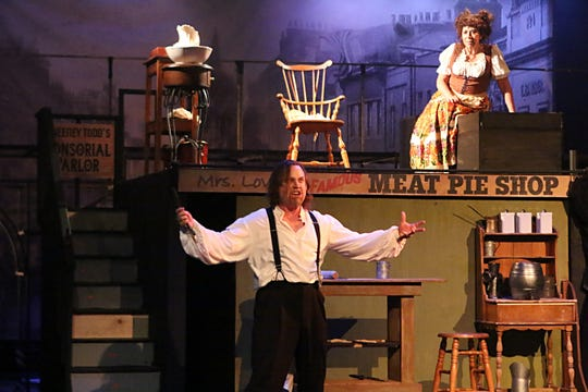 "John Wallis plays Sweeney Todd and Dana Kolb plays Mrs. Lovett in the Conejo Players Theatre production of ""Sweeney Todd,"" which continues through March 24 in Thousand Oaks."