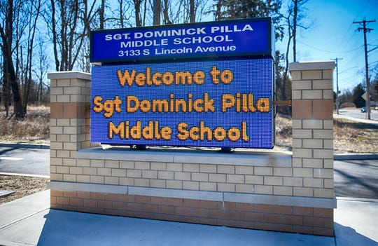 Sgt. Dominick Pilla Middle School sign, pictured here outside the Vineland school on Tuesday, Mar. 5, 2019.