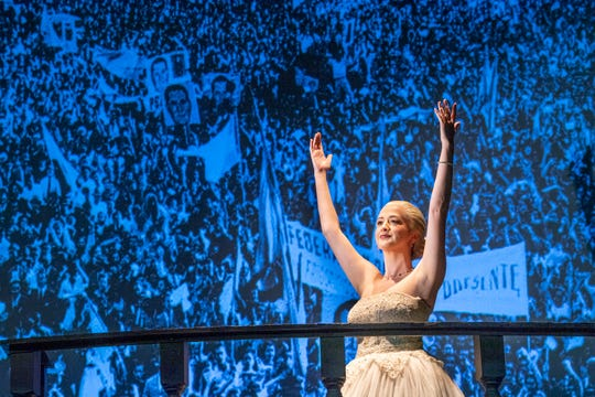 """Alina Marie Gonzalez is Eva Perón, the wife of the Argentinean strongman Juan Peron, in """"Evita,"""" COS' spring musical about her early life, rise to power, charity work, and eventual death."""
